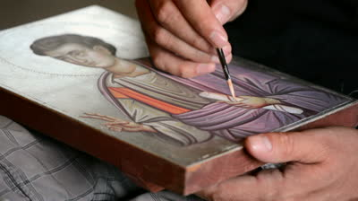 stock-footage-artist-painting-an-orthodox-icon