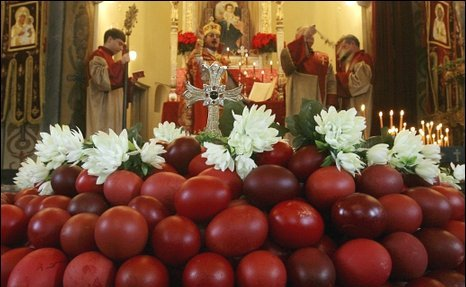 Bulgarian Orthodox priests consecrated traditional red dyed eggs
