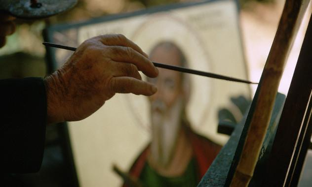 Elderly Monk Painting Icon