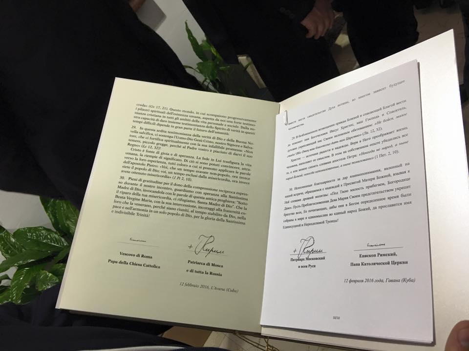 Il testo della Dichiarazione finale con le firme del Papa e del patriarca di Mosca