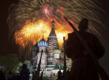 Fireworks explode over Red Square during Victory Day celebrations in Moscow