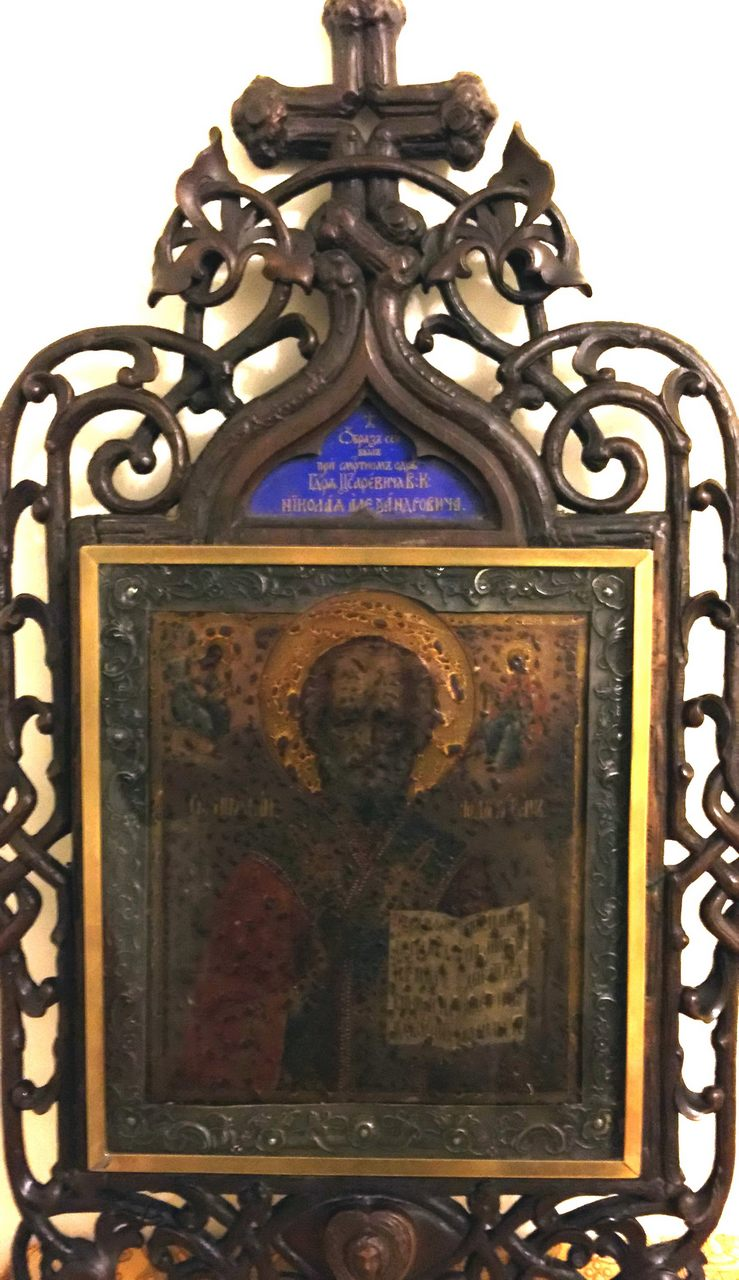 La venerata icona di San Nicola che appartenne allo zarevich Nicholas Alexandrovich, morto a Nizza nell'aprile del 1865