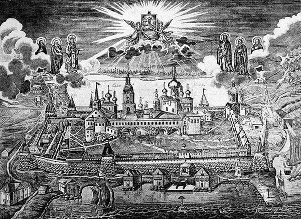 Il monastero delle isole Solovkj in una litografia del XIX secolo