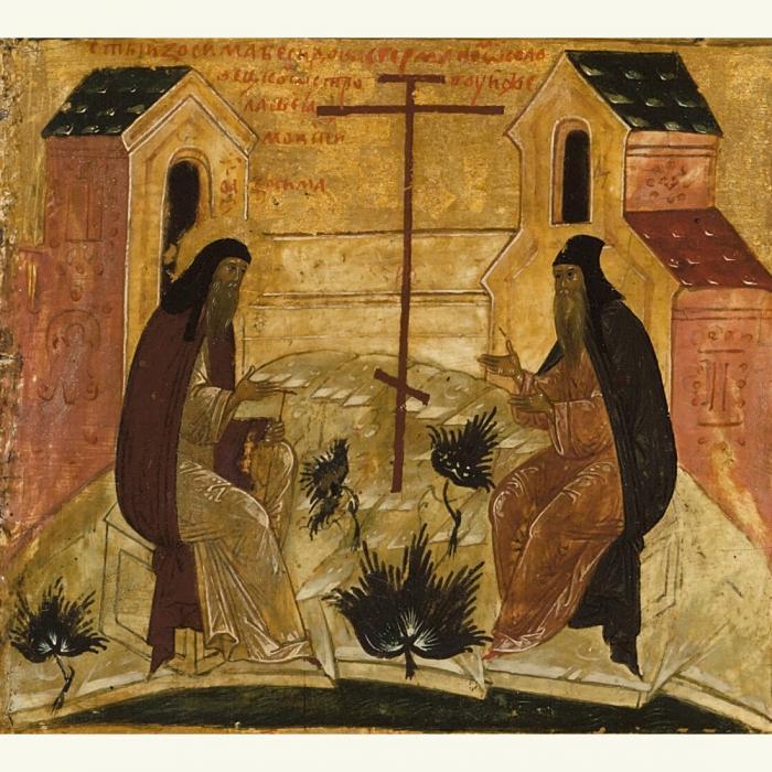 I santi Zosima e Savvatij in un'icona russa dell'inizio del XVIII sec. (Particolare)